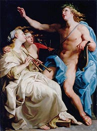 Apollo and Two Muses, c.1741  by Pompeo Batoni | Painting Reproduction