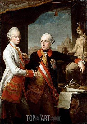 Kaiser Joseph II and the Grand Duke Leopold of Tuscany, 1769 | Pompeo Batoni | Gemälde Reproduktion