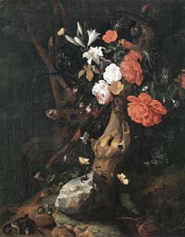 Flowers on a Tree Trunk | Rachel Ruysch | Painting Reproduction