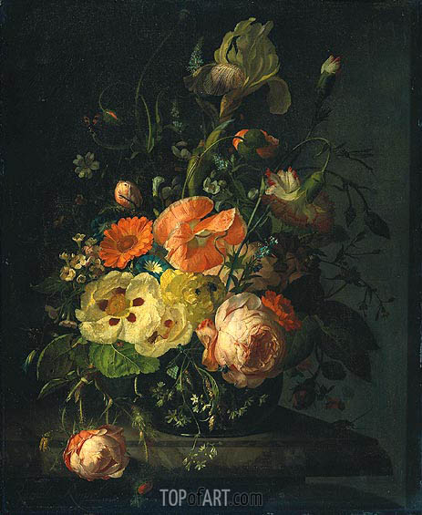 Still Life with Flowers on a Marble Tabletop, 1716 | Rachel Ruysch | Gemälde Reproduktion