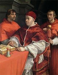 Portraits of Leo X, Cardinal Luigi de' Rossi and Giulio de Medici, c.1513/18 von Raphael | Gemälde-Reproduktion