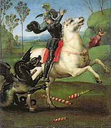 Saint George Fighting the Dragon, c.1504 by Raphael | Painting Reproduction