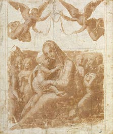 The Virgin and Child Surrounded by Angels | Raphael | Gemälde Reproduktion
