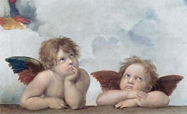 Putti (Detail from The Sistine Madonna), 1513 by Raphael | Painting Reproduction
