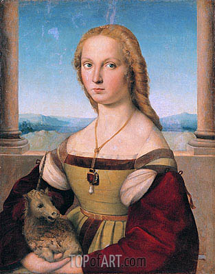Lady with a Unicorn, c.1505/06 | Raphael| Gemälde Reproduktion