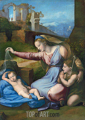 The Madonna of the Veil (The Madonna of the Blue Diadem), undated | Raphael | Painting Reproduction