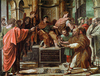 The Conversion of the Proconsul (The Blinding of Elymas), c.1515/16 | Raphael| Painting Reproduction
