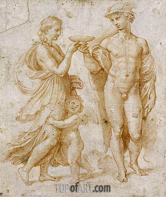 Mercury Offering the Cup of Immortality to Psyche, undated | Raphael | Painting Reproduction