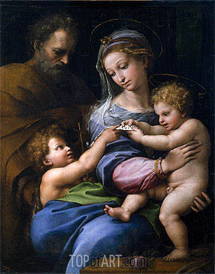 The Virgin with a Rose (The Holy Family with Little Saint John), c.1520 | Raphael| Painting Reproduction