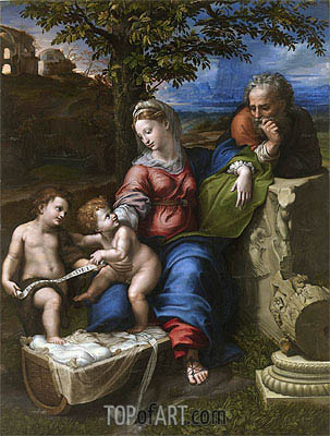 The Holy Family with an Oak Tree, c.1518 | Raphael| Painting Reproduction