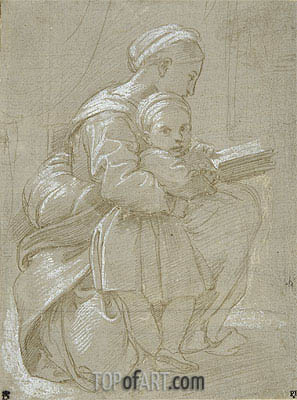 A Woman Seated on a Chair Reading with a Child, undated | Raphael | Painting Reproduction