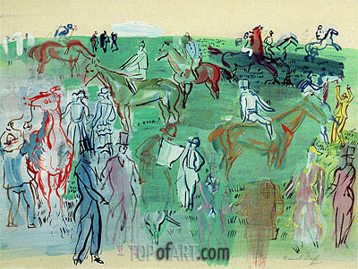 Racegoers on the Lawn, 1941 | Raoul Dufy | Painting Reproduction