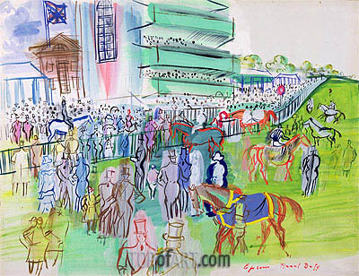 In Front of the Grandstand at Epsom, c.1937 | Raoul Dufy | Painting Reproduction