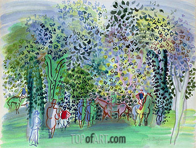 Horses and Jockeys under the Trees, c.1930/31 | Raoul Dufy | Painting Reproduction