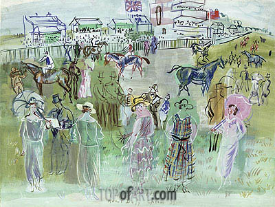 Raoul Dufy | Elegant People at Epsom, 1939