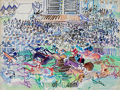 The Races at Epsom, 1938 | Raoul Dufy | Painting Reproduction