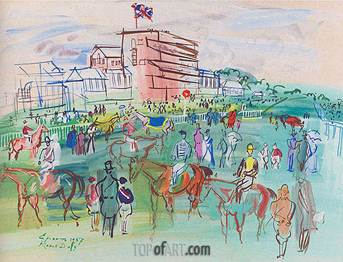 Front of the Grandstand, 1937 | Raoul Dufy | Gemälde Reproduktion