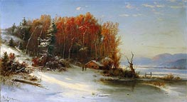 First Snow Along the Hudson, 1859 von Regis-Francois Gignoux | Gemälde-Reproduktion