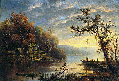 Autumn on the Hudson, 1858 | Regis-Francois Gignoux | Gemälde Reproduktion