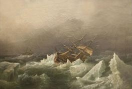 Antarctic Expedition: Gale in the Pack, 1842 by Richard Brydges Beechey | Painting Reproduction