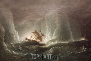 Antarctic Expedition: Escape from the Bergs, 1842 | Richard Brydges Beechey | Painting Reproduction
