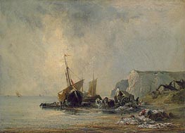 Boats near Shore of Normandy, c.1823/24 by Richard Parkes Bonington | Painting Reproduction