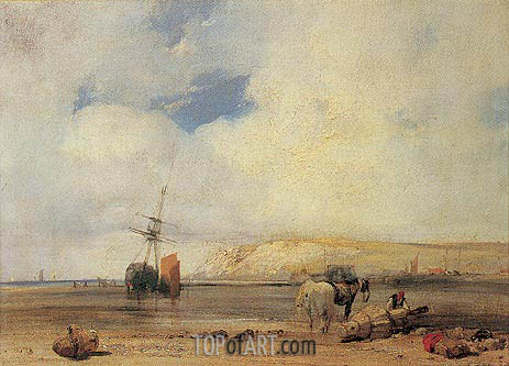 On the Coast of Picardy, 1826 | Richard Parkes Bonington | Painting Reproduction