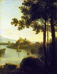 Evening: River Scene with Castle, c.1751/57 by Richard Wilson | Painting Reproduction