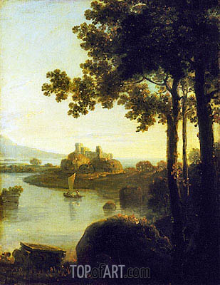 Evening: River Scene with Castle, c.1751/57 | Richard Wilson | Gemälde Reproduktion