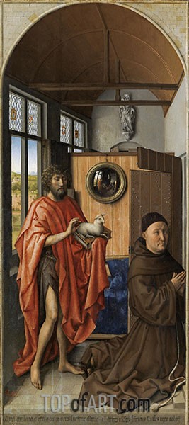 Heinrich von Werl and his Patron Saint John the Baptist, 1438 | Robert Campin | Painting Reproduction