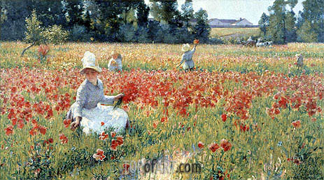 In Flanders Field-Where Soldiers Sleep and Poppies Grow, 1890 | Robert Vonnoh | Gemälde Reproduktion
