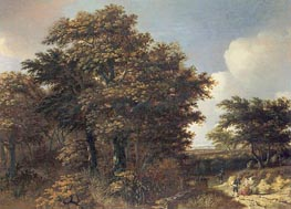 Wooded Landscape with Travellers, c.1660 by Roelof van Vries | Painting Reproduction
