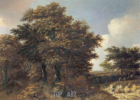 Wooded Landscape with Travellers, c.1660 | Roelof van Vries | Painting Reproduction