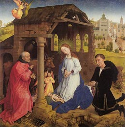 Nativity, central panel of Middelburg Altarpiece, c.1445/48 by van der Weyden | Painting Reproduction