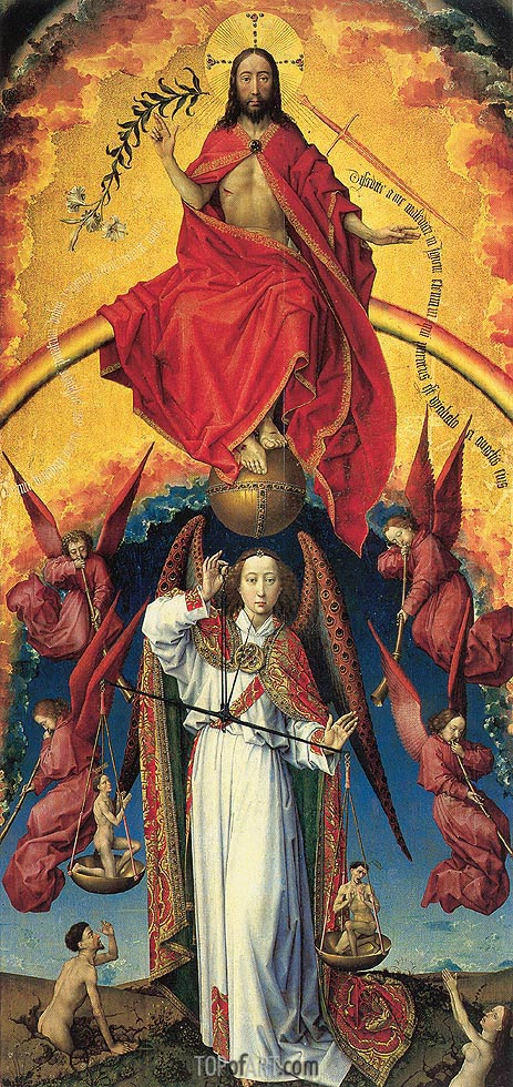 Christ and St. Michael, c.1450 | van der Weyden | Gemälde Reproduktion