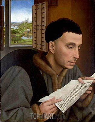 van der Weyden | A Man Reading (Saint Ivo), a.1450