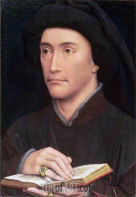 van der Weyden | Portrait of a Man holding an Open Book (possibly Bishop Guillaume Fillastre), c.1437