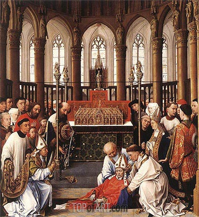 van der Weyden | The Exhumation of Saint Hubert, c.1430/40