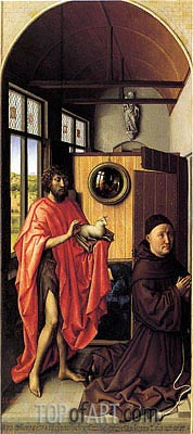 Heinrich von Werl and his Patron Saint John the Baptist, 1438 | van der Weyden| Painting Reproduction