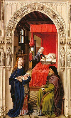 van der Weyden | Naming of John the Baptist (Saint John Altarpiece), c.1455/60