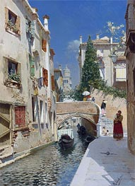 Venetian Canal with the Campanile of the Frari, Undated by Rubens Santoro | Painting Reproduction