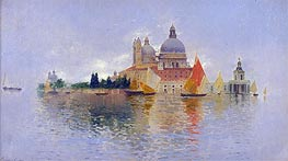 Punta della Dogana with the Basilica della Salute, undated by Rubens Santoro | Painting Reproduction
