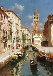 Gondolas on a Venetian Backwater, undated by Rubens Santoro | Painting Reproduction