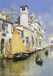 Gondolas on a Venetian Canal, undated by Rubens Santoro | Painting Reproduction
