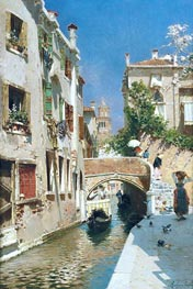 A Woman Carrying Water beside a Venetian Canal, undated by Rubens Santoro | Painting Reproduction