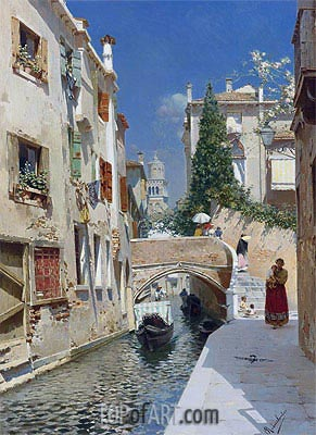 Venetian Canal with the Campanile of the Frari,  | Rubens Santoro| Painting Reproduction
