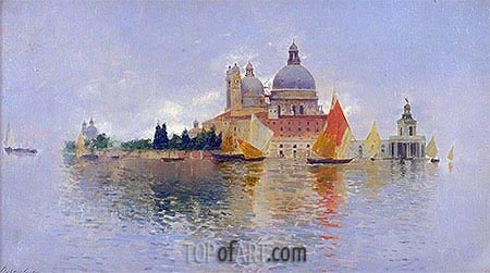 Punta della Dogana with the Basilica della Salute, undated | Rubens Santoro| Painting Reproduction