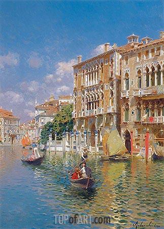 Rubens Santoro | Gondoliers in front of the Palazzo Cavalli-Franchetti, Venice, undated