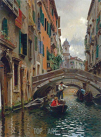 A Quiet Canal, Venice, undated | Rubens Santoro| Painting Reproduction