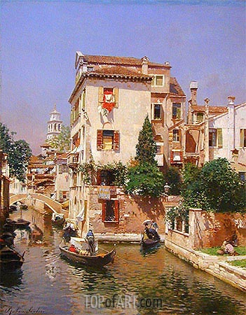 Gondoliers on a Venetian Canal, undated | Rubens Santoro | Painting Reproduction